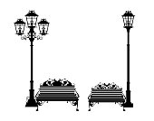 bench and street light black vector silhouette set