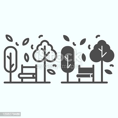 Bench and trees line and solid icon. Wide chair in front of plants and leafs in park. Autumn season vector design concept, outline style pictogram on white background, use for web and app. Eps 10
