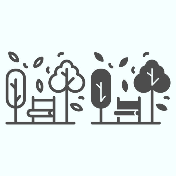 ilustrações de stock, clip art, desenhos animados e ícones de bench and trees line and solid icon. wide chair in front of plants and leafs in park. autumn season vector design concept, outline style pictogram on white background, use for web and app. eps 10. - natureza close up