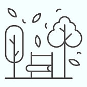 Bench and trees thin line icon. Wide chair in front of plants and leafs in park. Autumn season vector design concept, outline style pictogram on white background, use for web and app. Eps 10