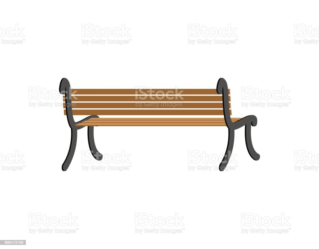 Red Oak Kitchen Table, Bench Back View Wooden Park Isolated On White Background Stock Illustration Download Image Now Istock