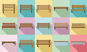 Bench icons set. Flat set of bench vector icons for web design