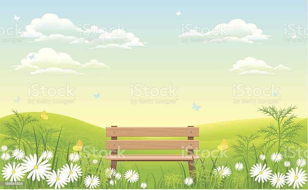 bench in nature royalty-free stock vector art