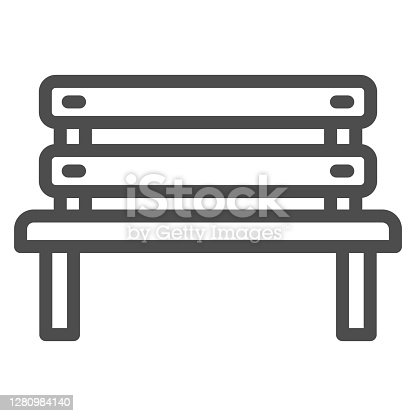 Bench line icon, Oktoberfest concept, Park chair sign on white background, Outdoor bench icon in outline style for mobile concept and web design. Vector graphics