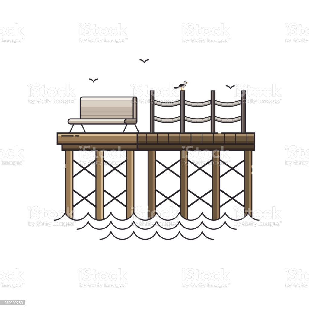 Bench on Wooden Pier Vector Illustration