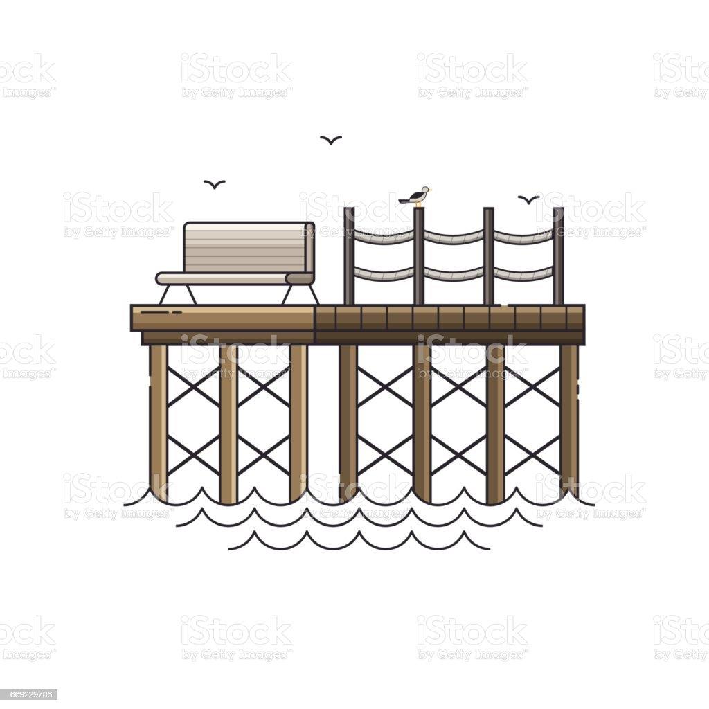 Bench on Wooden Pier Vector Illustration vector art illustration