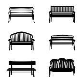 Bench set. Garden benches icon silhouette collection