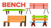 Bench Set Vector. Classic Wooden Park Bench For Adult And Children. Types. Outdoor Urban Park Comfortable Object. Isolated Cartoon Illustration
