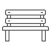 Bench thin line icon, Oktoberfest concept, Park chair sign on white background, Outdoor bench icon in outline style for mobile concept and web design. Vector graphics
