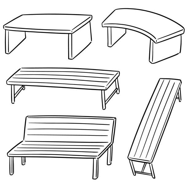 Pleasant Best Drawing Of A Wooden Bench Illustrations Royalty Free Machost Co Dining Chair Design Ideas Machostcouk