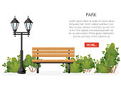Bench with bushes and lantern. Cartoon style design. Park concept. Vector illustration on white background. Web site page and mobile app design.
