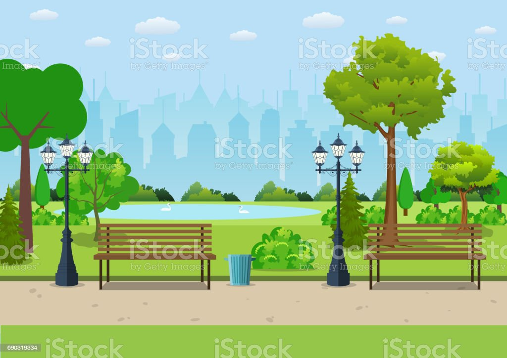 Bench with tree and lantern in the Park. royalty-free bench with tree and lantern in the park stock illustration - download image now