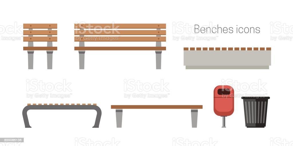Ícones de plana de bancos - ilustração de arte em vetor