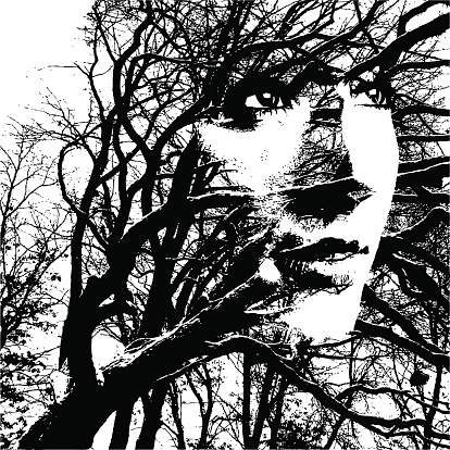 Silhouette Montage of a Woman Face and Oak Tree.