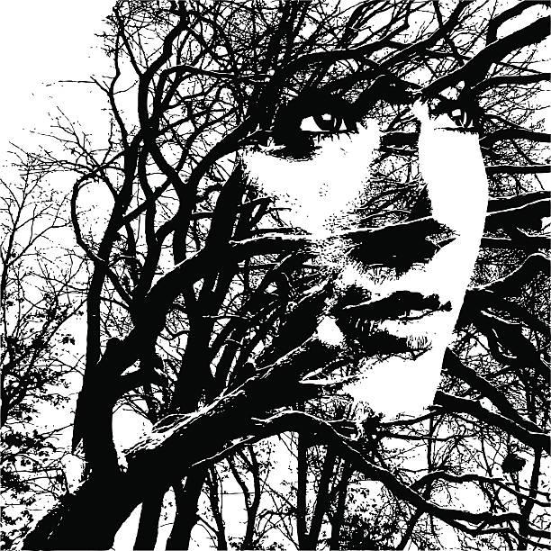 illustrazioni stock, clip art, cartoni animati e icone di tendenza di bend ma non pausa - woman portrait forest