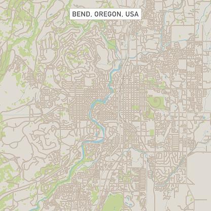 Bend Oregon Us City Street Map Stock Illustration - Download