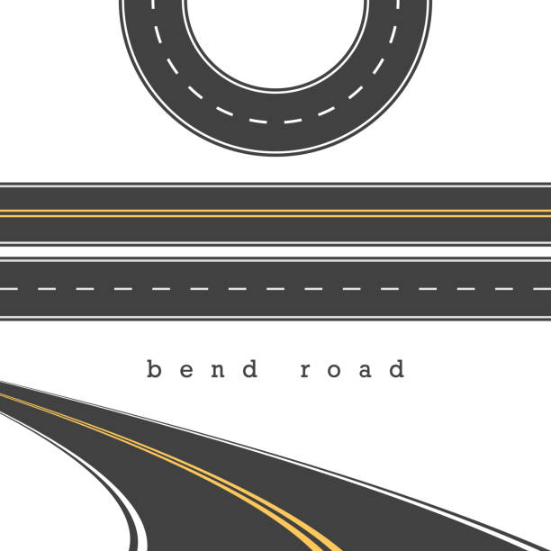 Bend Road, Straight and Curved Roads Vector Set, Road Junction. Vector Illustration. White and Yellow Road Marking Bend Road, Straight and Curved Roads Vector Set, Road Junction. Vector Illustration. White and Yellow Road Marking. Highway, Expressway. Abrupt Turn. Double Solid Yellow Line, Broken White Line. straight stock illustrations