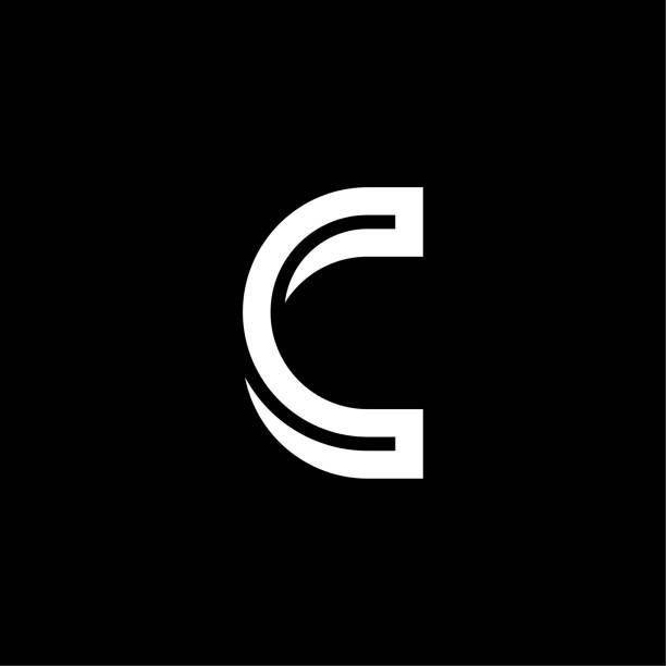 Bended Line Letter Logotype C vector art illustration