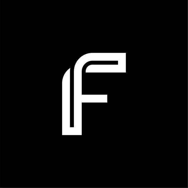 Bended Line Letter Logotype F vector art illustration