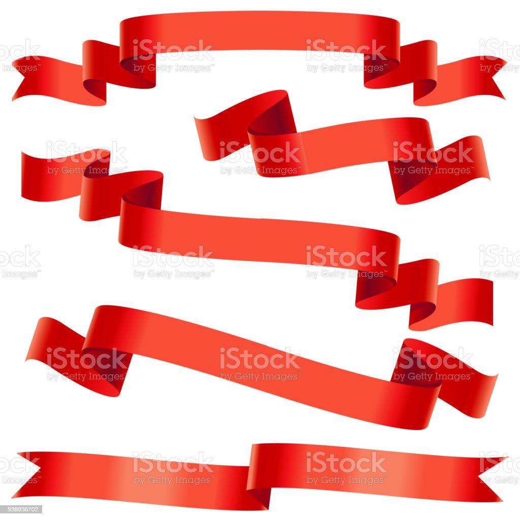 Bending red ribbons vector art illustration