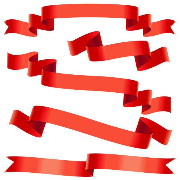 bending red ribbons - ribbon sewing item stock illustrations