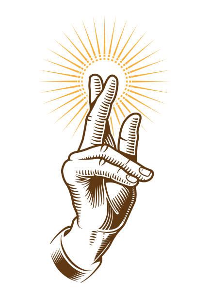 Benediction hand illustration vector art illustration