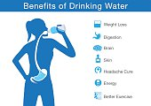Silhouette of body woman drinking water from bottle flow into stomach. This illustration about benefit of drinking water.