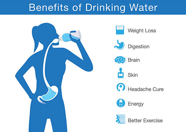 benefit of drinking water - dostatek stock illustrations