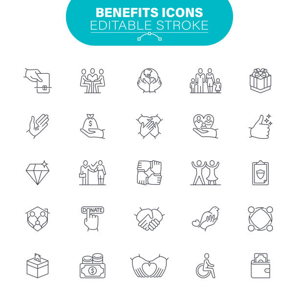 Benefits and Donation Icons vector art illustration