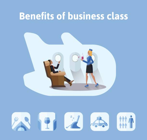 benefits of flights in business class. respectable businessman sitting in airplane seat, the stewardess bringing him a drink. vector illustration in flat style. - airplane seat stock illustrations