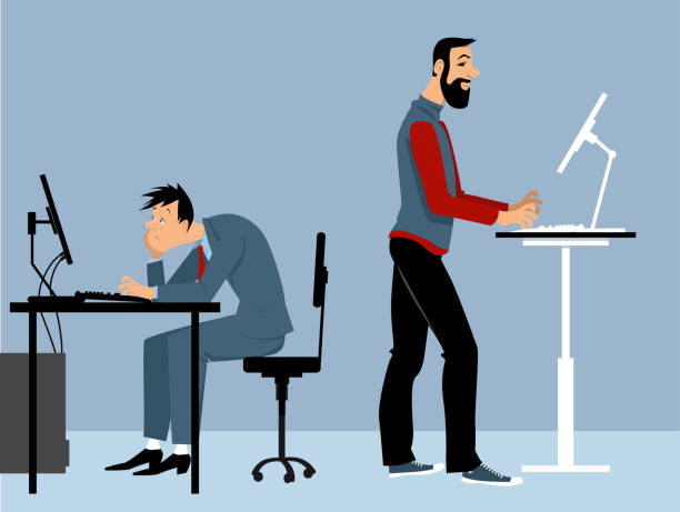 benefits of standing desk - standing stock illustrations