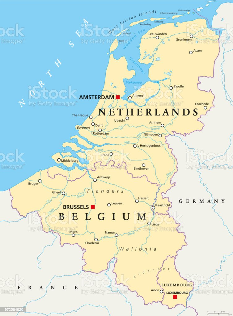 Benelux Belgium Netherlands And Luxembourg Political Map Stock ...