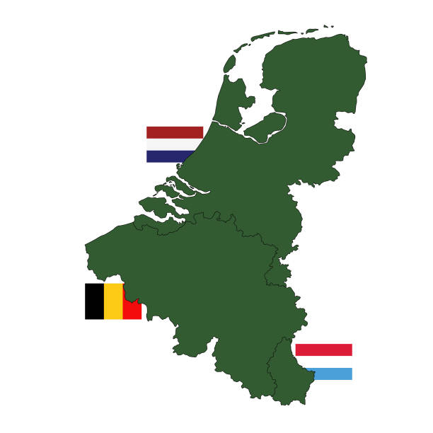 Benelux countries map and flags vector illustration of Benelux countries map and flags benelux stock illustrations