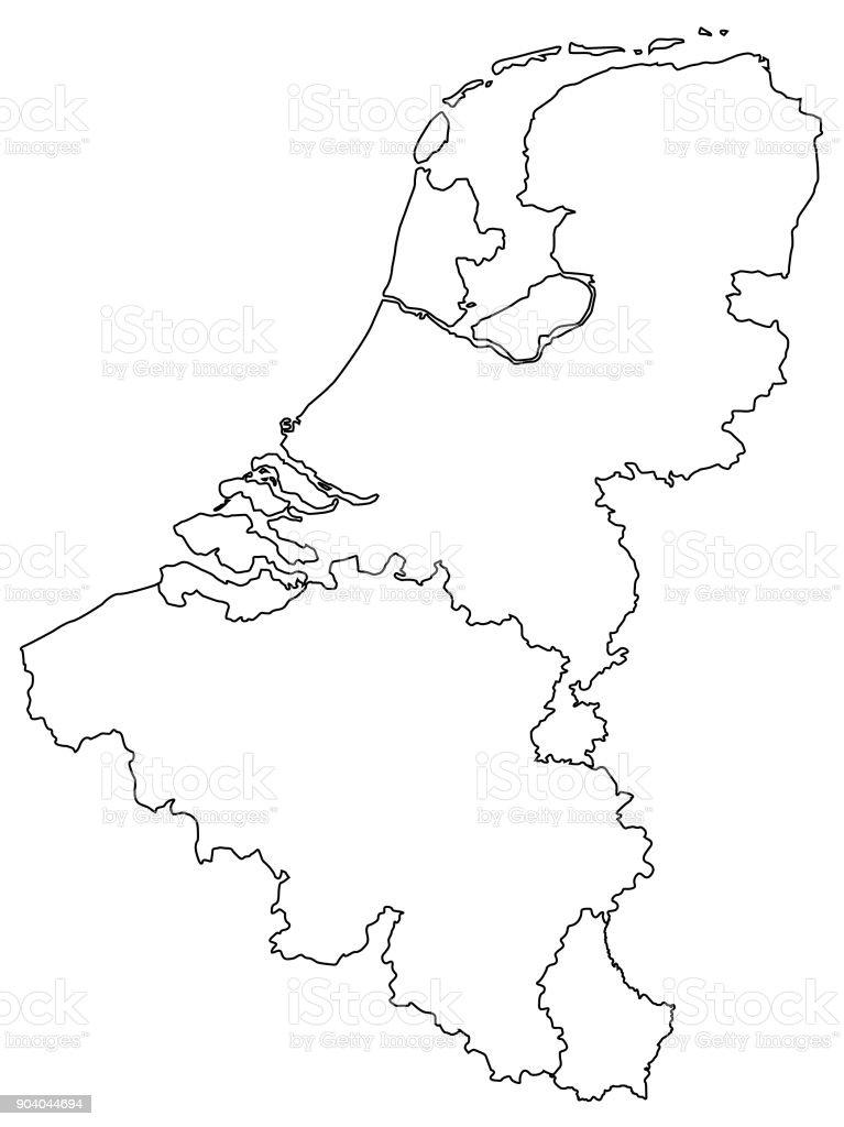 Kaart van de Benelux-landenvectorkunst illustratie