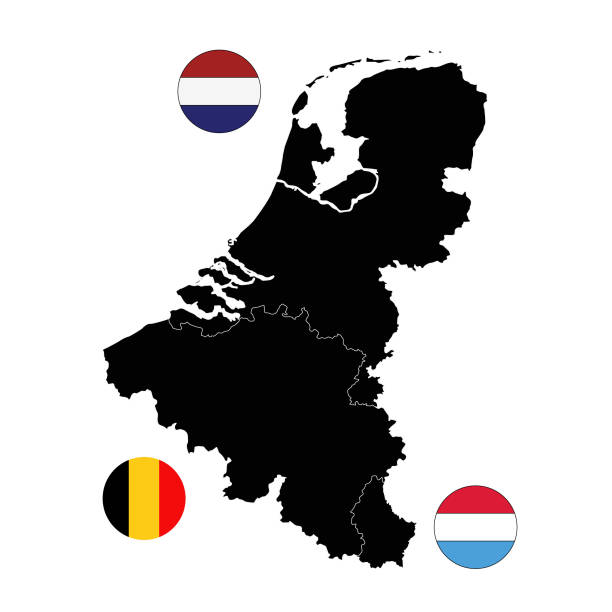 Benelux countries maps and flags vector illustration of Benelux countries maps and flags benelux stock illustrations