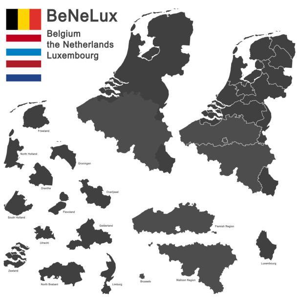 BeNeLux countries vector art illustration