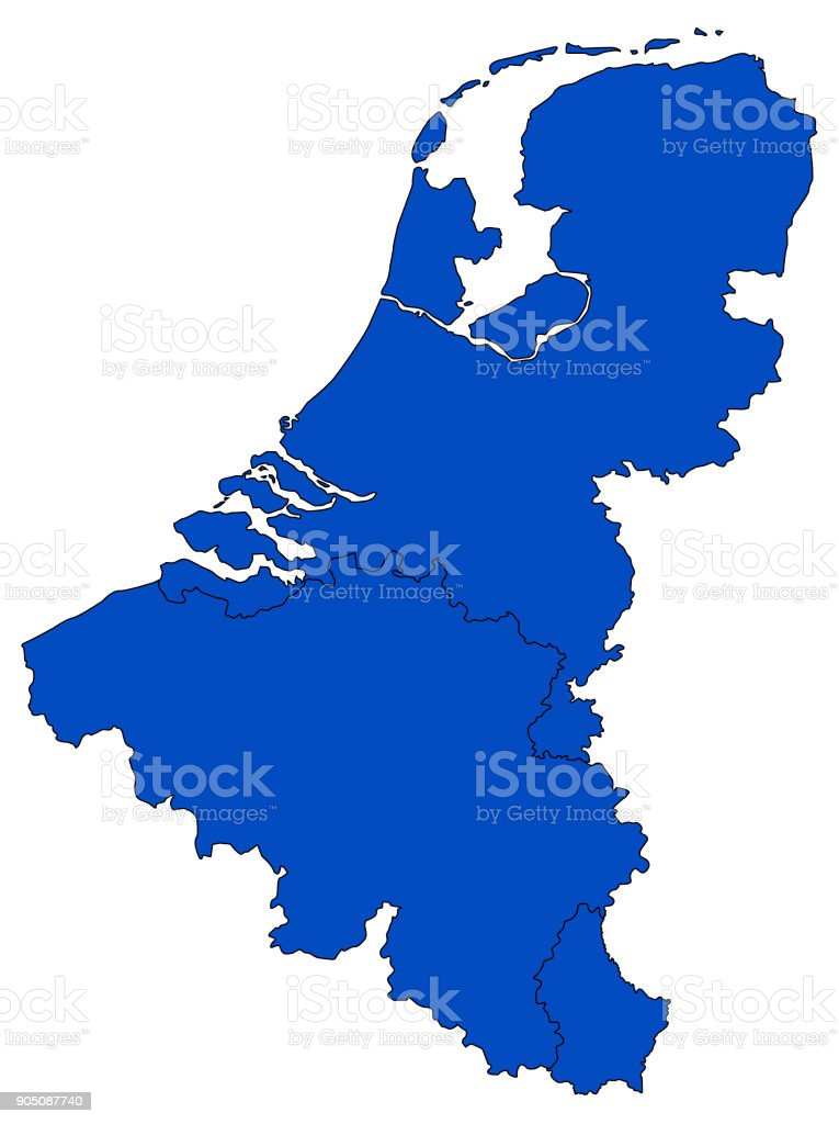 Benelux map vector art illustration