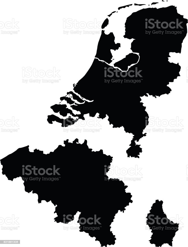 Benelux maps vector art illustration