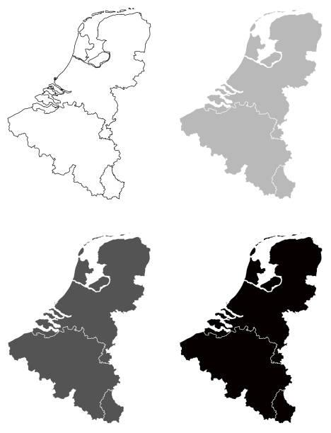 Benelux maps vector illustration of Benelux maps benelux stock illustrations