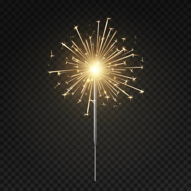 Bengal light. Burning sparkler, christmas, new year and happy birthday sparkling candle, firework isolated vector illustration Bengal light. Burning sparkler, christmas, new year and happy birthday sparkling candle, firework isolated vector symbol brightness golden lighting illustration sparkler stock illustrations