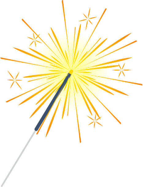 Bengal Light, Fire, Firework Sparkler Isolated Bengal or indian light sparkler, Bengal fire firework isolated on white. Salute element for celebration of holidays and parties, weddings and birthdays. Bright sparks used for entertainment purposes. sparkler stock illustrations