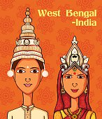 Vector design of Bengali Couple in traditional costume of West Bengal, India