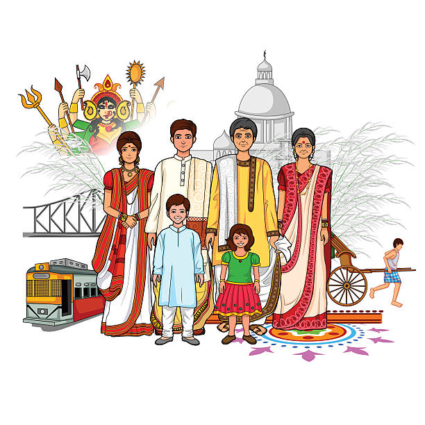 Bengali family showing culture of West Bengal, India Vector design of Bengali family showing culture of West Bengal, India indian family stock illustrations