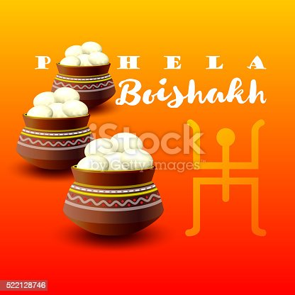 Bengali new year pohela boishakh. Mud pot fill with rasgulla. Bengali New Year background. Vector illustration. Traditional holiday Bengali new year pohela boishakh. Celebration