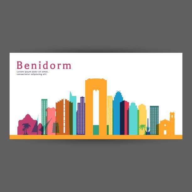 benidorm bunte architektur vektor-illustration, silhouette skyline stadt, wolkenkratzer, flaches design. - alicante stock-grafiken, -clipart, -cartoons und -symbole
