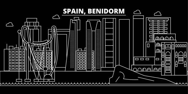 silhouette skyline von benidorm. spanien - benidorm vektor stadt, spanische lineare architektur, gebäude. zu reisen benidorm abbildung, umriss wahrzeichen. flache symbol spanien, spanische linie banner - alicante stock-grafiken, -clipart, -cartoons und -symbole