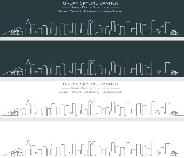 benidorm single line skyline profil banner - alicante stock-grafiken, -clipart, -cartoons und -symbole