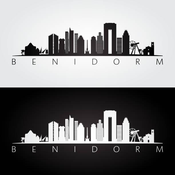 benidorm skyline und wahrzeichen silhouette, schwarz / weiß design, vektor-illustration. - alicante stock-grafiken, -clipart, -cartoons und -symbole