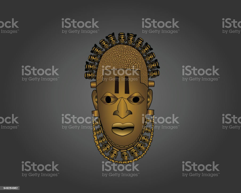 Benin Ivory Mask vector art illustration