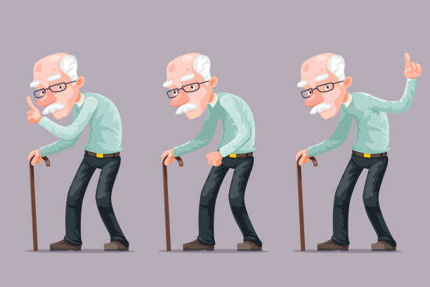 bent old man cane wise moral preaching instruction old cartoon character design vector illustration - old man shoes stock illustrations, clip art, cartoons, & icons